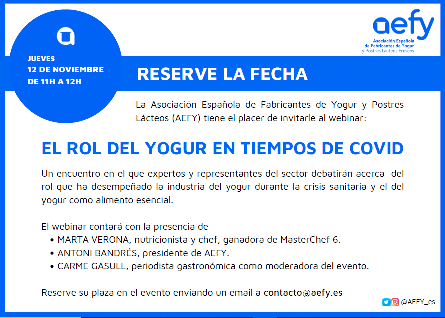 Webinar El rol del yogur en tiempos de COVID. Link a e-mail para inscripción.