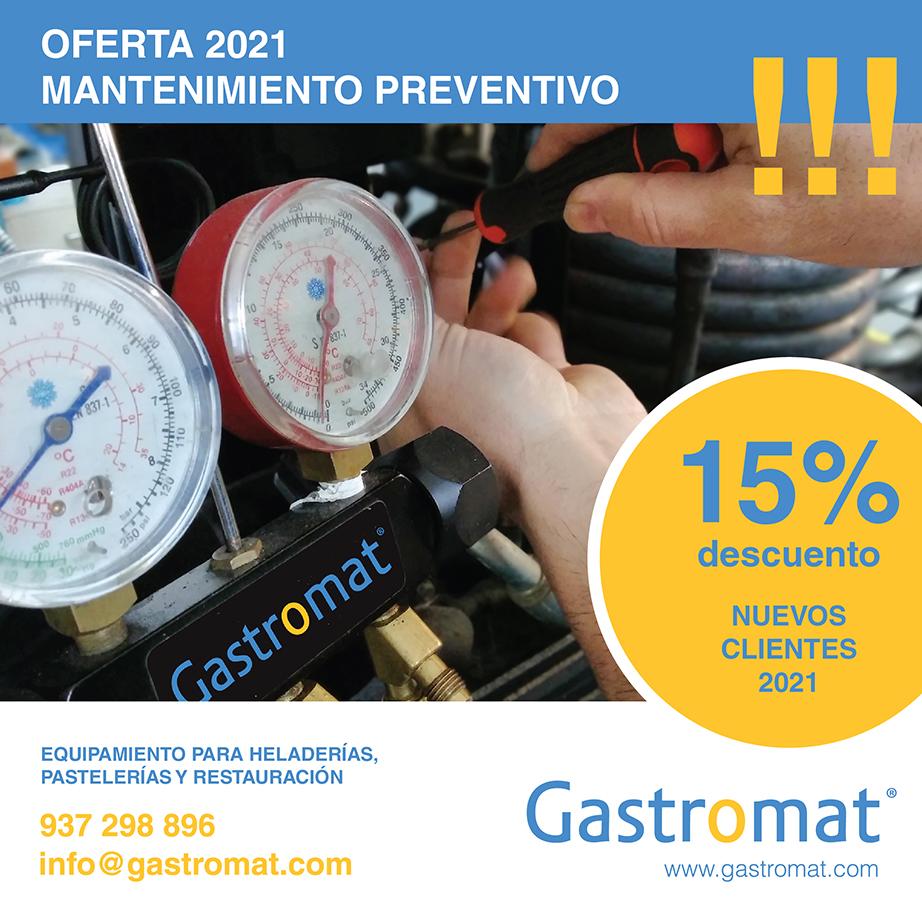 15% descuento para nuevos clientes en el mantenimiento preventivo de equipos para heladerías, pastelerías y restauración.